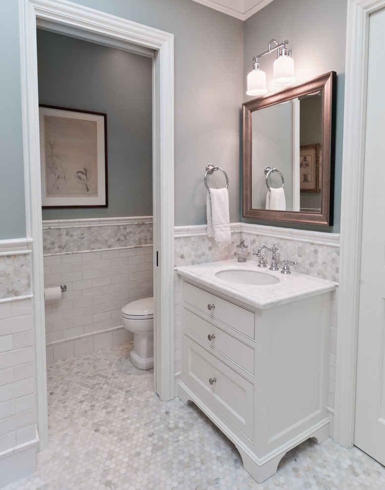 Inspiration for a timeless subway tile toilet room remodel in San Francisco
