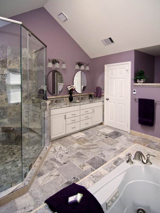 Traditional gray and purple bathroom design ideas for Grey and purple bathroom ideas