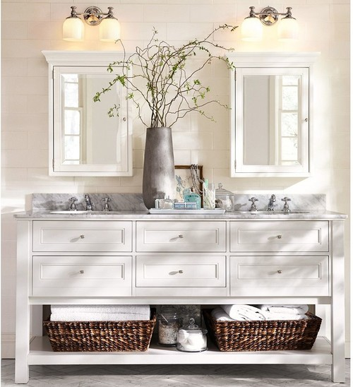 maybe do something like the one below with lighting above 2 mirrors centered over each sink above mirror bathroom lighting