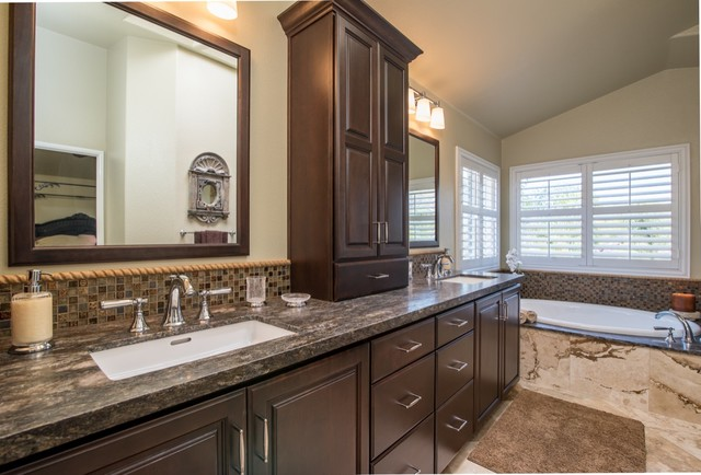 Poway California Fireplace And Master Bathroom