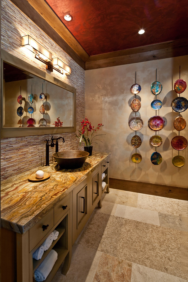 Bathroom - contemporary bathroom idea in Salt Lake City with a vessel sink and brown countertops