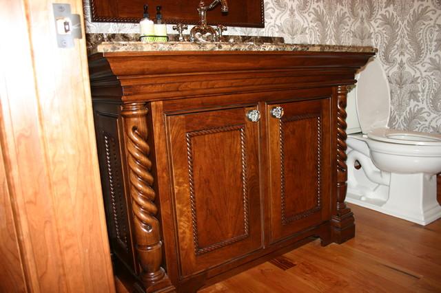Powder Bath Vanity With Rope Twist Legs Traditional Bathroom - Bathroom vanities minneapolis