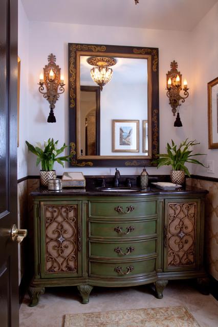 Vicki Gunvalson RHOC Home & Garden transformation 2013 mediterranean-bathroom