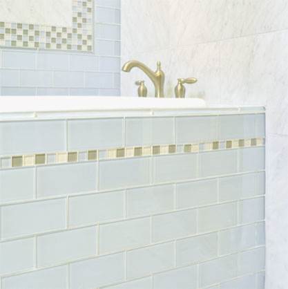 Powder Blue Gl Subway Tile With Mosaic Liner Contemporary