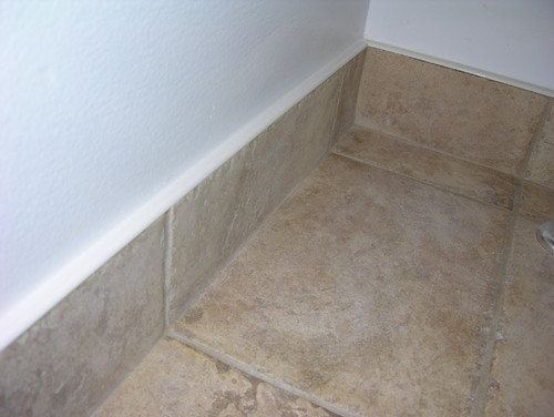Base For Bathroom Floor Tiles : What is the white cap on top of baseboard tile