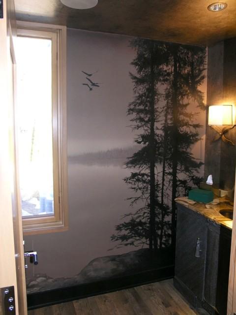 Powder room canvas mural