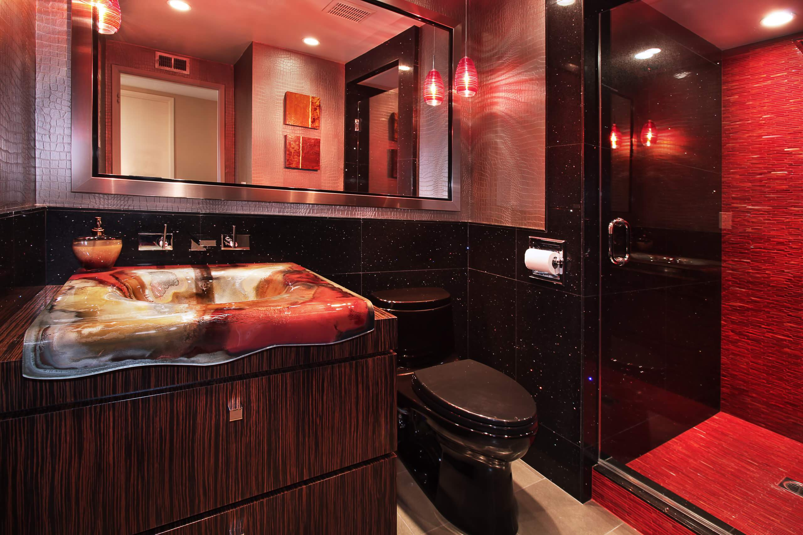 Red And Black Bathroom Ideas Houzz, Black And Red Bathroom