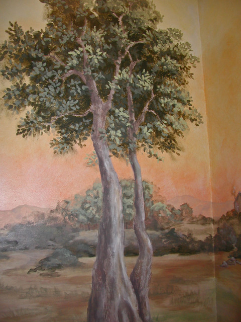 Powder Room Landscape Mural traditional