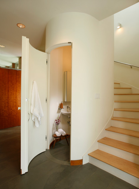 Powder Room modern-staircase