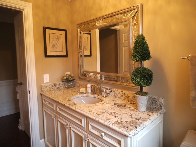 Powder room makeover traditional bathroom cleveland for Accents salon chagrin falls