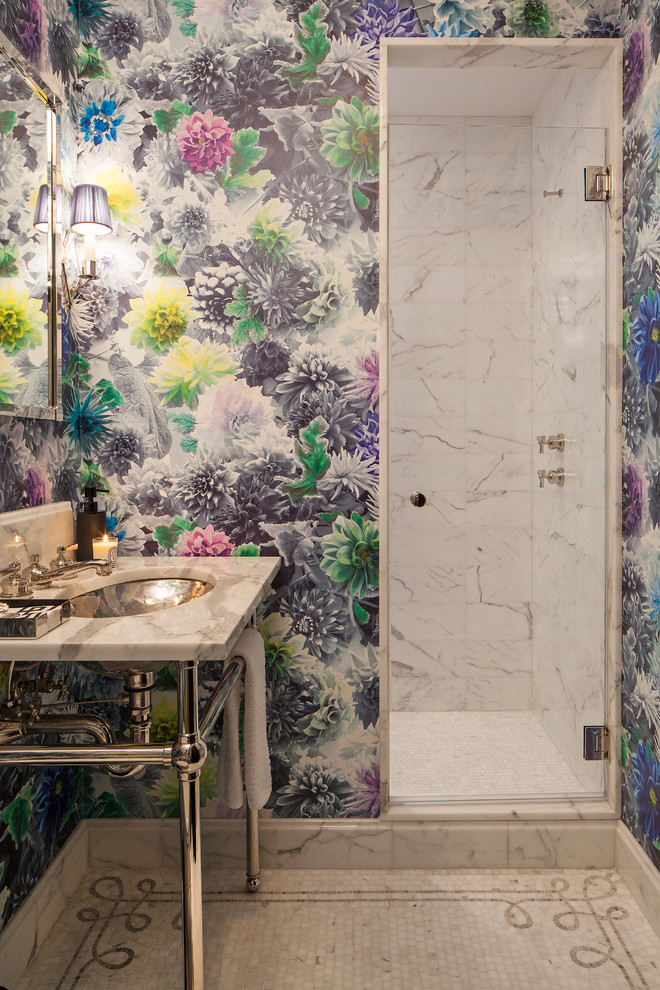 Inspiration for a small transitional white tile and stone tile mosaic tile floor alcove shower remodel in New York with a console sink, marble countertops and multicolored walls