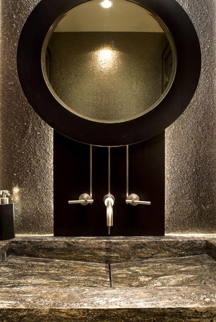 Powder Room Sink & Mirror rustic-bathroom