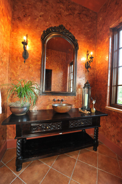 Powder Room,venetian plaster and antique vanity mediterranean bathroom
