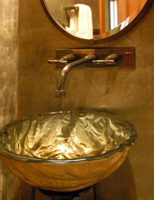 Powder Room Vessel Sink Contemporary Bathroom