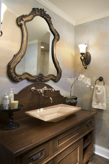 Powder room traditional bathroom