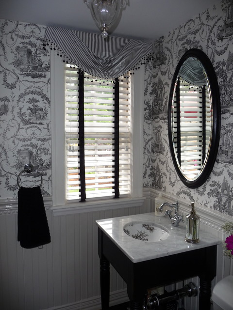 Powder Room With Black And White Toile Wallpaper