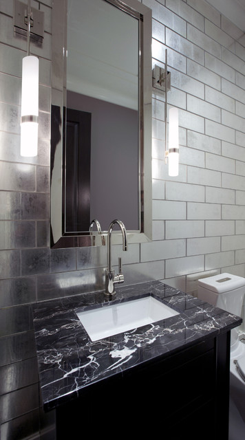 Powder room with glass tile feature wall for Bathroom feature tile designs