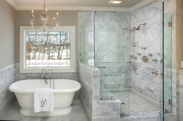 Inspiration For A Timeless White Tile And Marble Tile Bathroom Remodel In  Columbus With Gray Walls