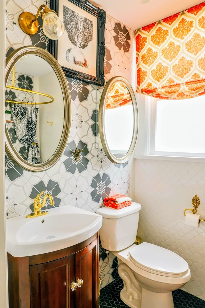 Example of a small trendy master gray tile and ceramic tile ceramic tile and gray floor bathroom design in Other with recessed-panel cabinets, medium tone wood cabinets, a two-piece toilet, white walls, white countertops and a drop-in sink