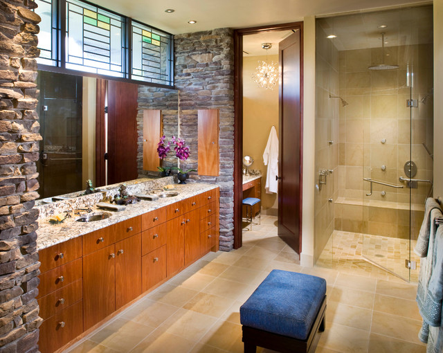 Prairie Style Home Contemporary Bathroom Tampa By
