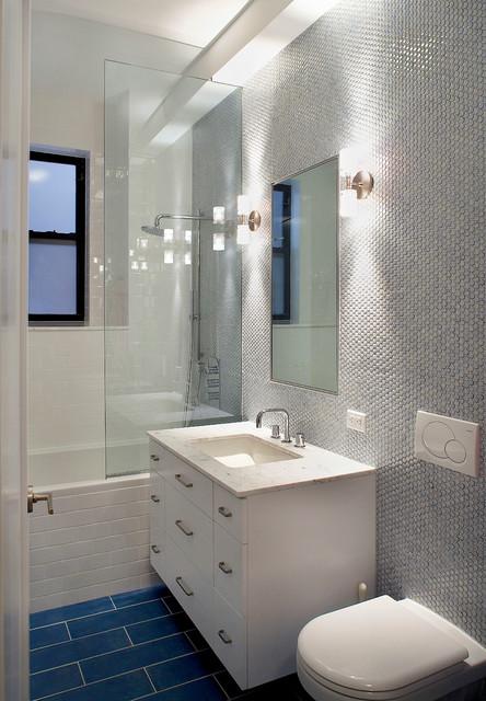 Pre-war apartment renovation contemporary-bathroom