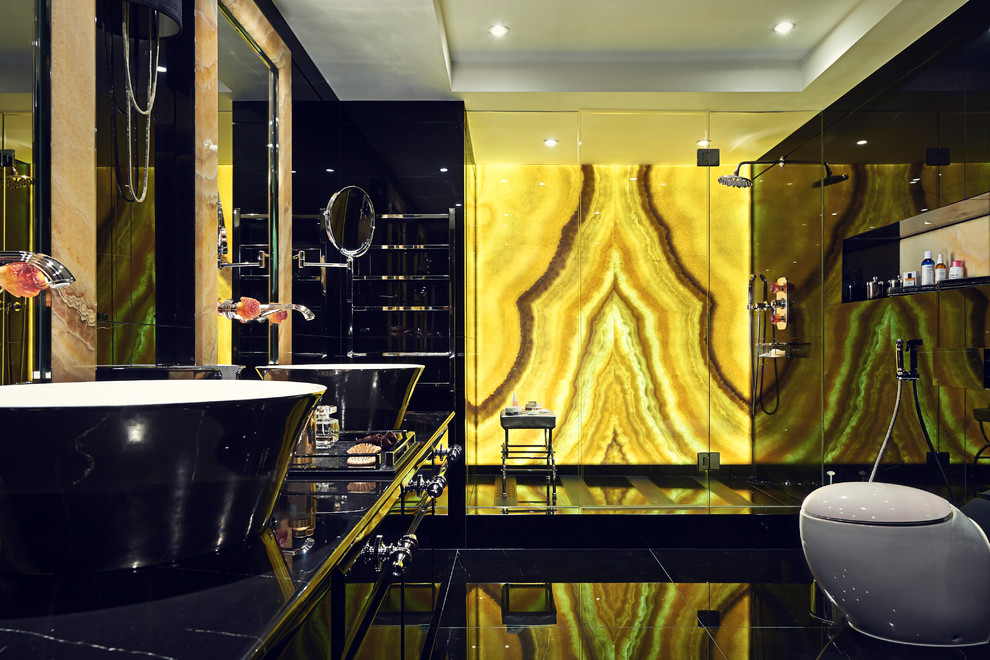 Inspiration for a large eclectic stone slab bathroom remodel in Surrey