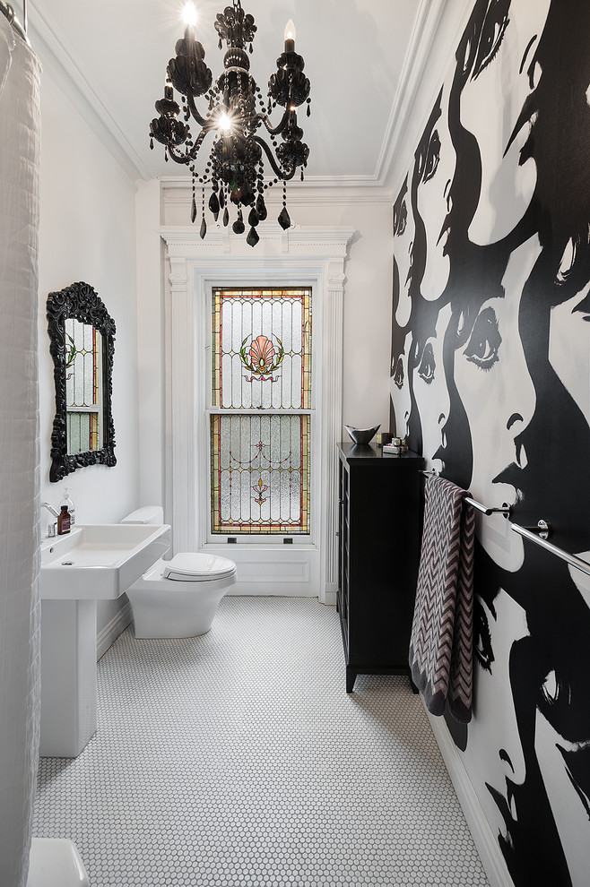 Inspiration for an eclectic mosaic tile floor bathroom remodel in New York with multicolored walls