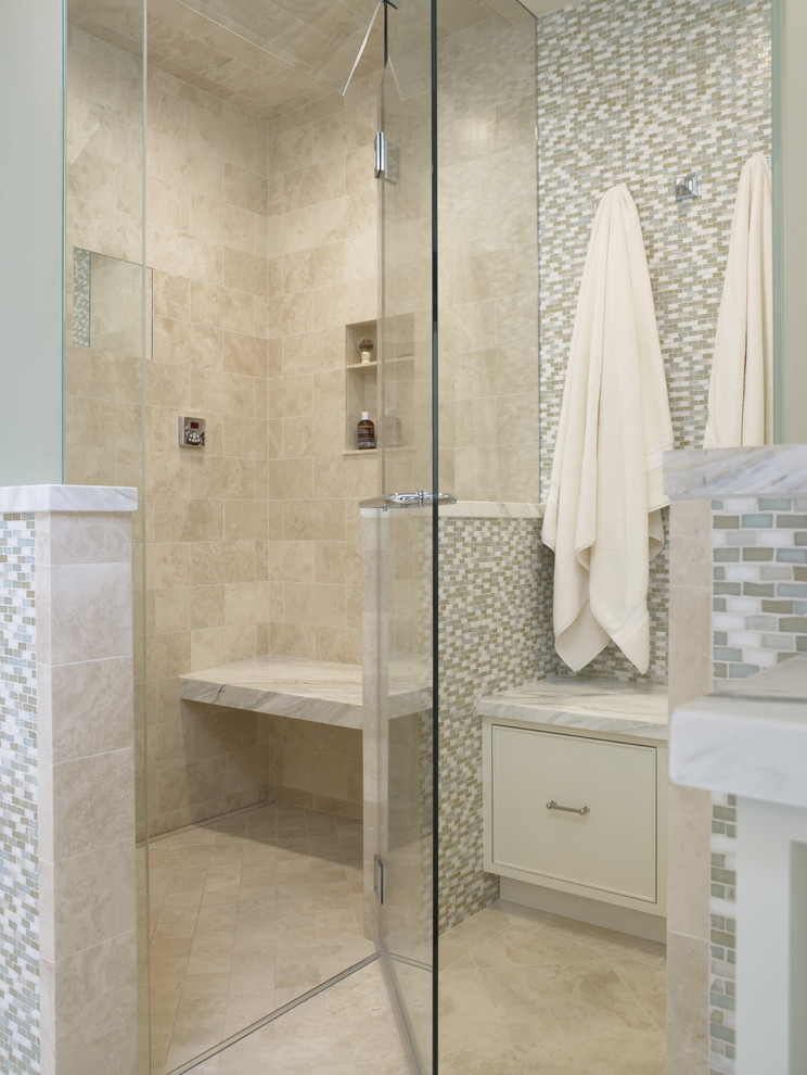 Inspiration for a timeless mosaic tile shower bench remodel in San Francisco with a niche