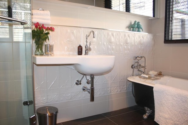 Pressed Metal Feature Walls Transitional Bathroom