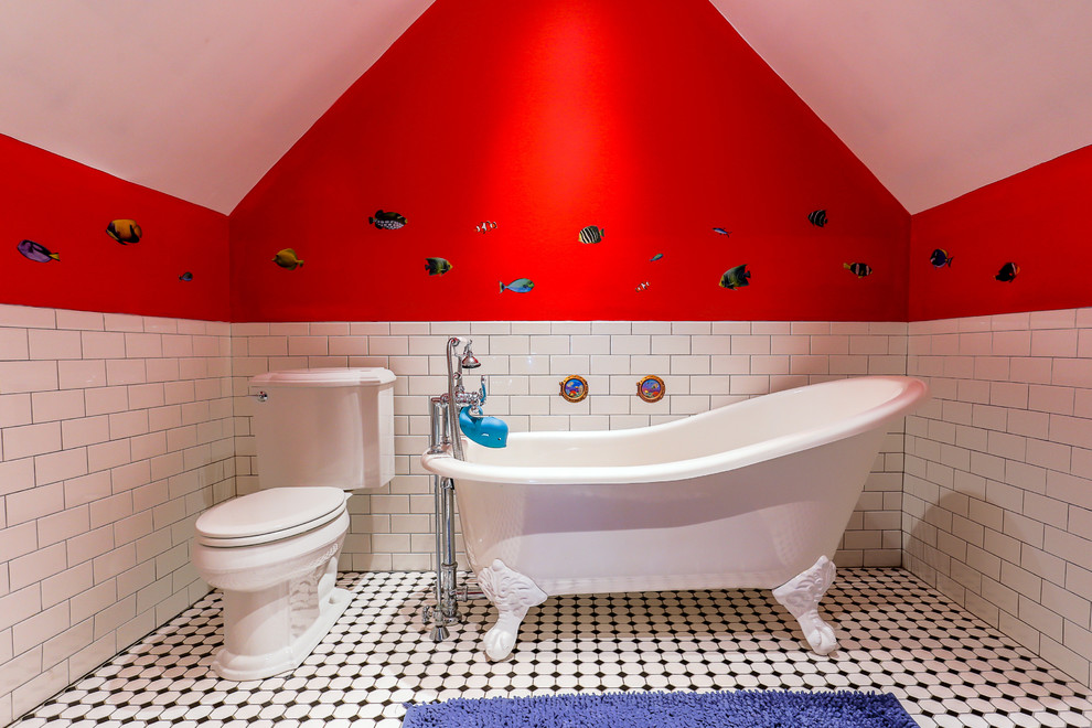 Elegant kids' white tile and subway tile claw-foot bathtub photo in Philadelphia with a two-piece toilet and red walls
