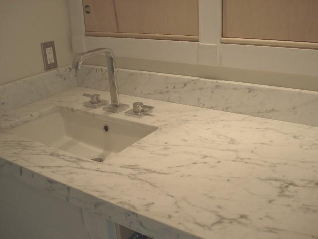 Private Residence Bianco Carrara C Custom Honed Saturnia Light Select