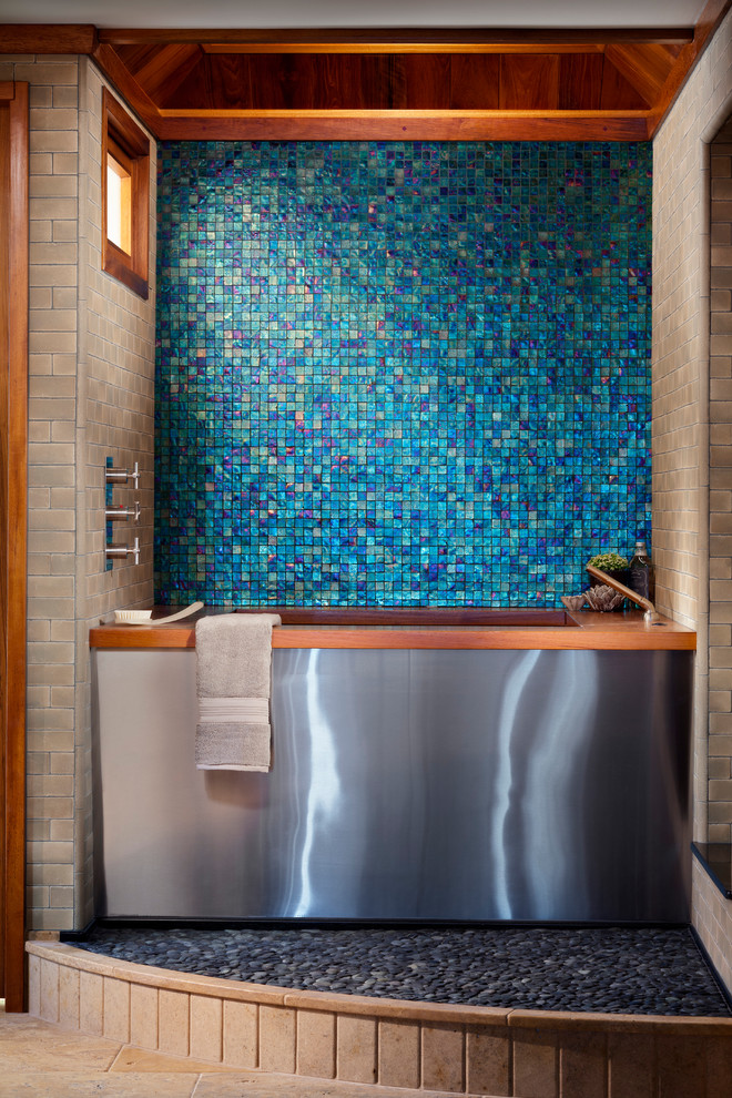 Bathroom - modern blue tile and mosaic tile bathroom idea in San Diego with an undermount tub