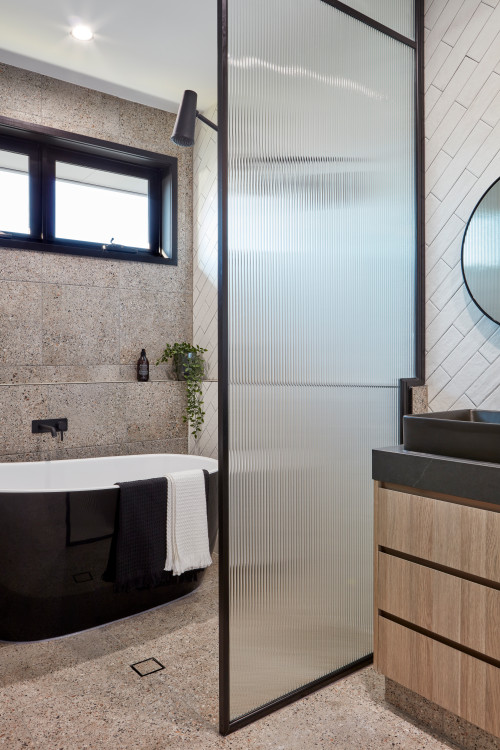 fluted shower screen and black fixtures bathroom trends 2021