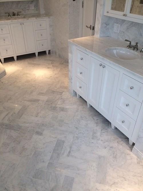What Size Is The Bathroom Floor Herringbone? Thanks!