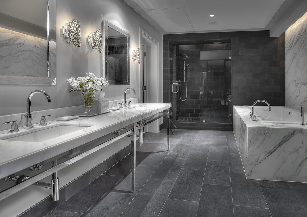 Inspiration for a contemporary bathroom remodel in Houston with a console sink