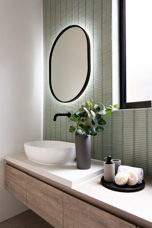 green tiles embracing colour in bathroom