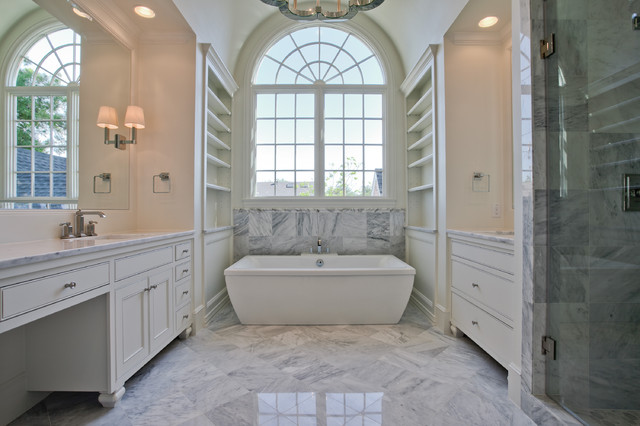 Example of a large classic master white tile and marble tile marble floor and gray floor bathroom design in Dallas with beaded inset cabinets, white cabinets, beige walls, an undermount sink, marble countertops and a hinged shower door