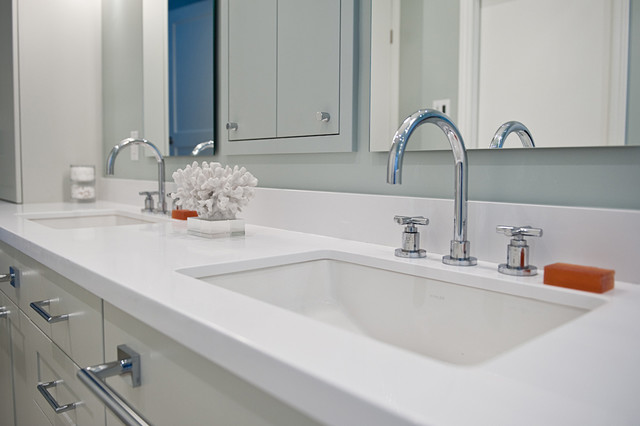 Pure White Caesarstone Bathroom Vanity