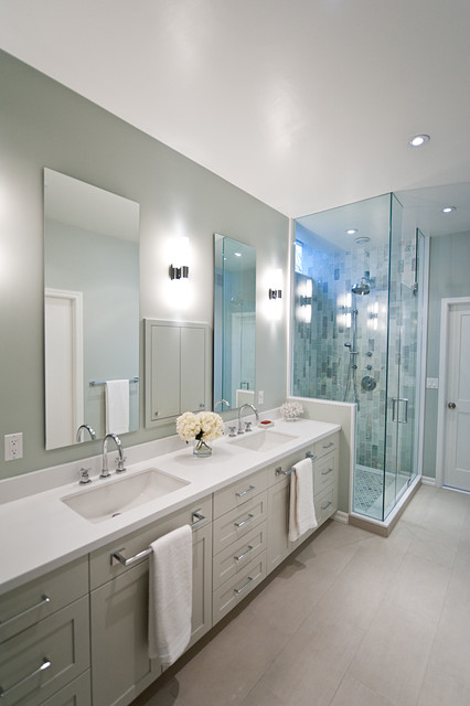 Pure white caesarstone bathroom vanity transitional bathroom