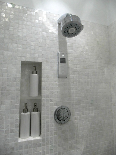 White freshwater mother of pearl mosaic bathroom contemporary bathroom