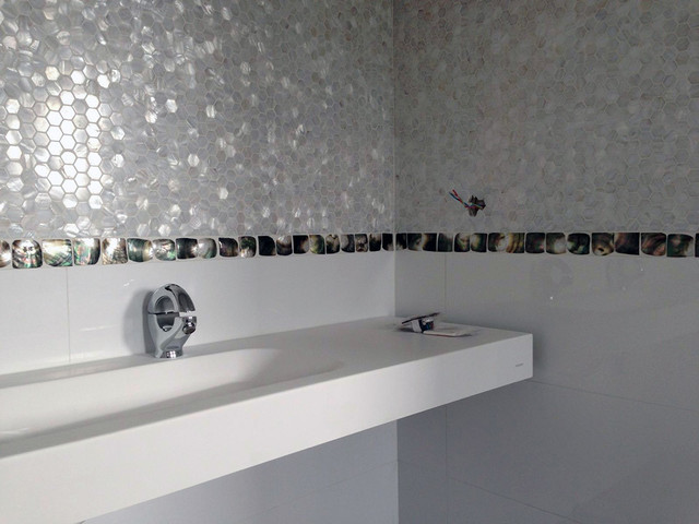 Pure White Freshwater Mother Of Pearl Mosaic Tiles And Convex Black Lip  Accents Contemporary Bathroom Part 80