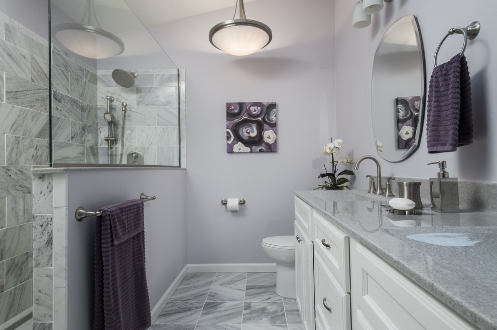 Doorless shower - contemporary gray tile and stone tile slate floor doorless shower idea in St Louis with white cabinets, quartz countertops, purple walls and recessed-panel cabinets