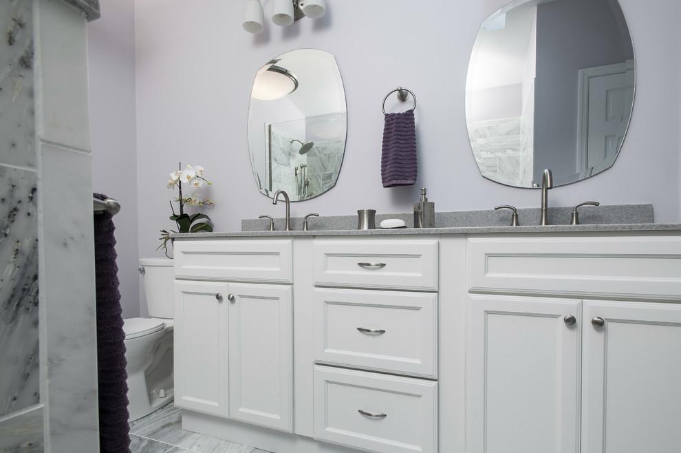 Gray Tile Bathroom With Purple Walls