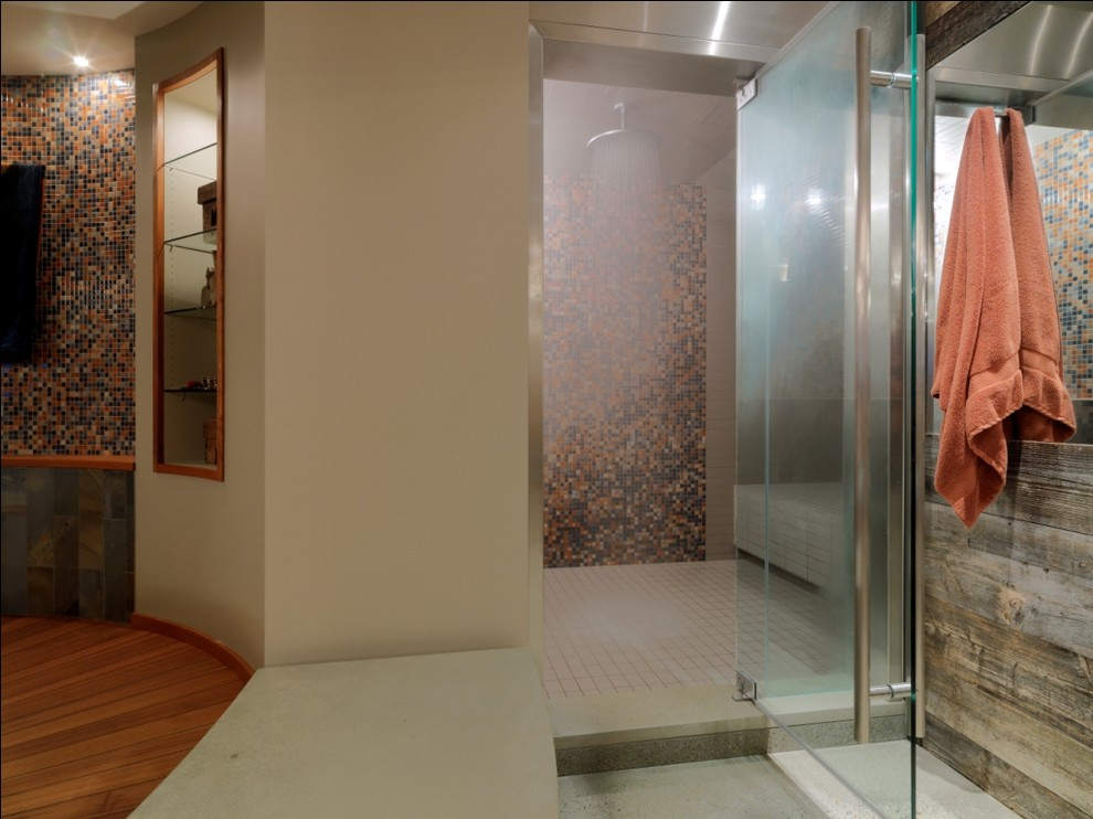 Example of a mountain style mosaic tile bathroom design in Burlington