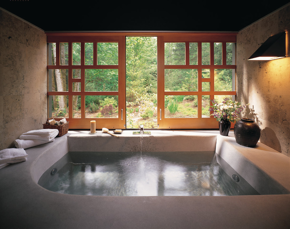 Example of a zen beige tile bathroom design in Seattle