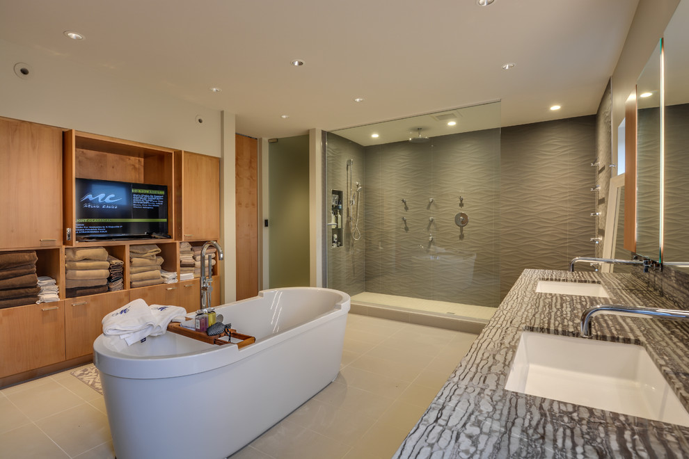 Bathroom - mid-sized modern master ceramic tile bathroom idea in Seattle with flat-panel cabinets, light wood cabinets, white walls and an undermount sink