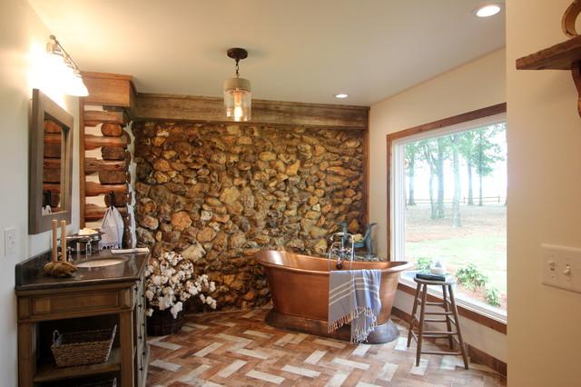 Rabbit Ridge Farm Log Cabin Master Bath Dressing Room