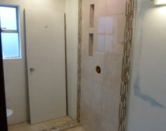 Rain Shower with Niches - Maple Ridge, BC modern bathroom