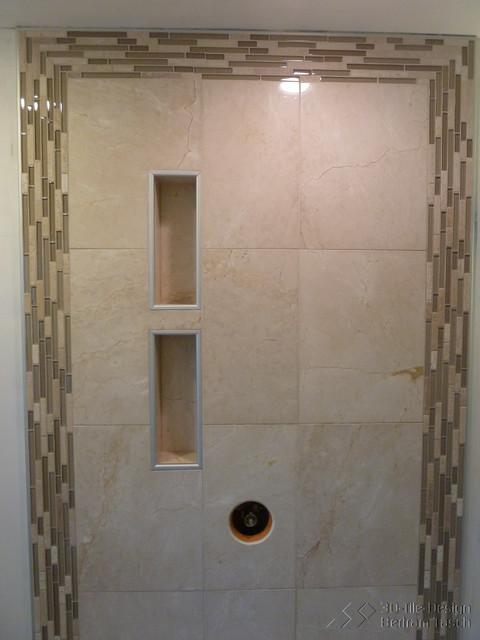 Rain shower with niches maple ridge bc modern for Bathroom niche design