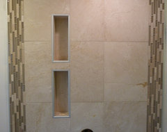 Rain Shower with Niches - Maple Ridge, BC modern-bathroom